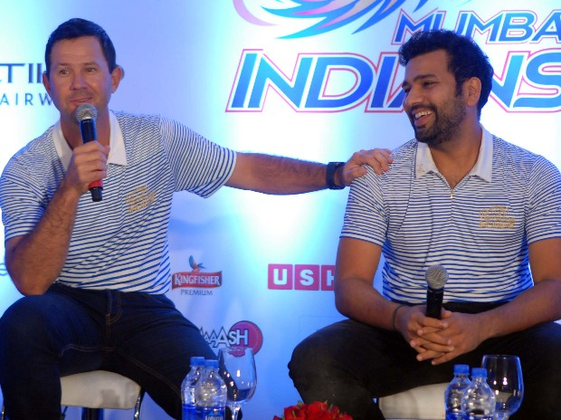 Mumbai Indians' coach Ricky Ponting and captain Rohit Sharma addressing a press conference in Mumbai (pic: Kamlesh Pednekar)