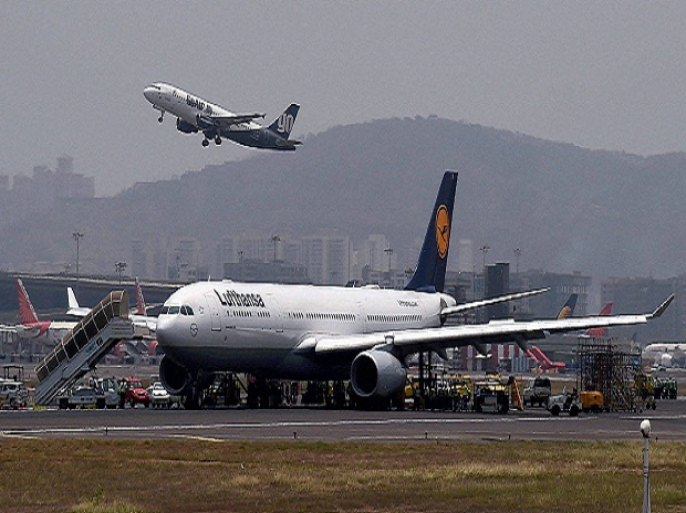 Lufthansa flight LH764 from Munich stuck at the airport as the main runway was closed due to a tyre burst of an aircraft in Mumbai. (Photo: PTI)
