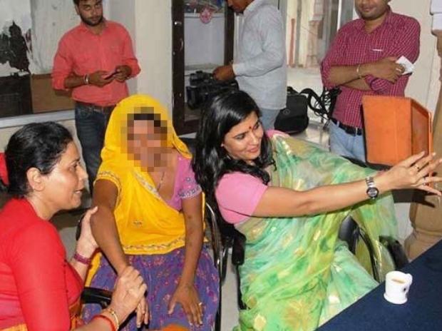 Rajasthan women's panel member Somya Gurjar with alleged rape survivor in Jaipur