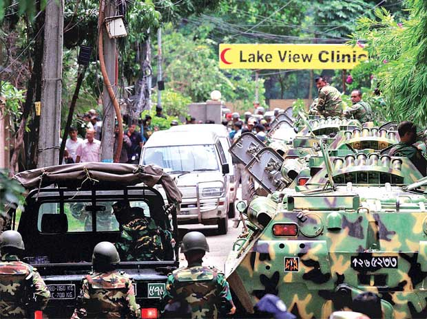Bangladesh security personnel atop armoured vehicles after militants took hostages at a restaurant in Dhaka on Saturday. Forces stormed the Holey Artisan Bakery in Dhaka's Gulshan area, rescuing some captives at the end of 12-hour stand-off (PTI)