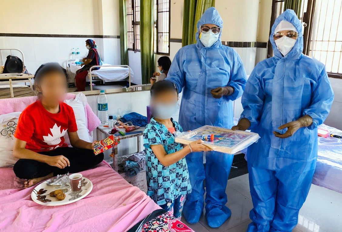 In a bid to bring cheers on faces of 2 COVID19 positive minor girls provided a set of indoor games, toys by District Administration at Shaheed Babu Labh Singh Civil Hospital, in Jalandhar on Sunday.