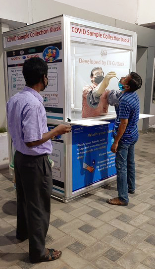 Walk-in Kiosk for collection of samples for coronavirus testing has been developed by a team of Govt ITI Cuttack on Sunday. The sample collection kiosk is a mobile cabin with a sealed glass front with extended gloves attached in front through which