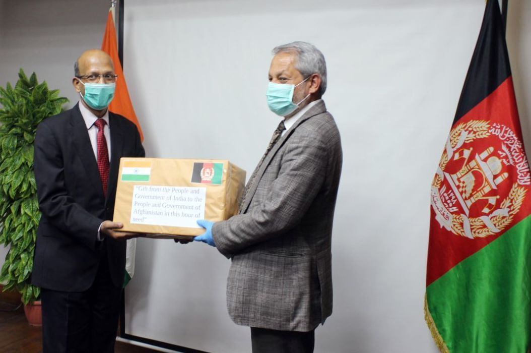 Ambassador of India to Afghanistan Vinay Kumar handed over the consignments of 300,000 tablets of hydroxychloroquine and 70,000 tablets of paracetamol tablets to Minister of Public Health Ferozuddin Feroz at Embassy of India in Kabul on Sunday.