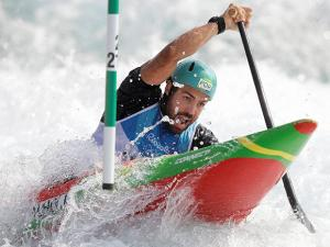Jose Carvalho of Portugal competes during the canoe single C1 men's semifinal