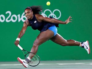 Serena Williams, of the United States, chases down a return during her loss to Elina Svitolina